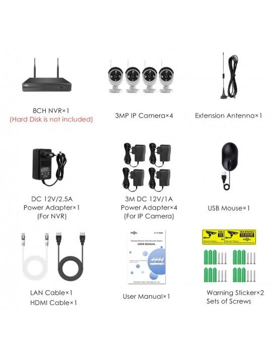 Hiseeu cámara CCTV IP sistema de seguridad Kit de videovigilancia